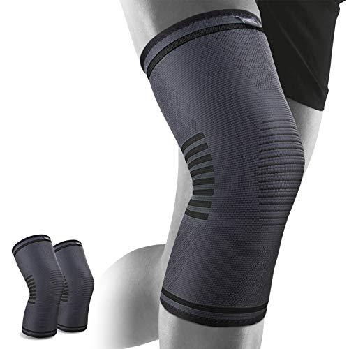 WOTEK Kniebandage gegen Knieschmerzen 2er Set für Männer & Frauen - Bequeme Sport Knieorthese mit Antirutsch Saum(L)