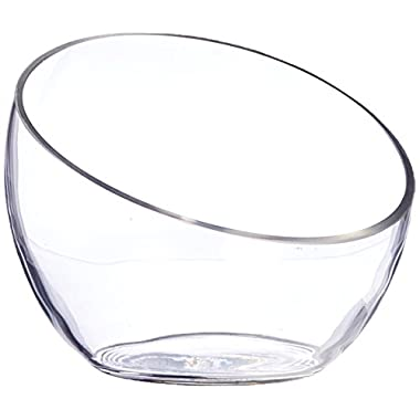 WGV Clear Slant Cut Bowl Glass Vase/Glass Terrarium, 6  x 2.7  With WGV Glass Cleaning Cloth