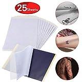 25 feuilles de papier carbone - papier de transfert de tatouage, papier calque de tatouage de papier graphite, A4 tatouage temporaire thermique carbone copie papier tatouages pochoir imprimante papier