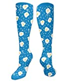 Blue Omelette Polyester Cotton Knee Leg High Socks 19.7 Inch Latest Unisex Thigh Stockings Cosplay Boot Long Tube Socks for Sports Gym Yoga Hiking Cycling Running Soccer