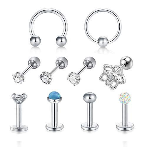 LAURITAMI 10 pcs Helix Cartilage Tragus Studs Ring Hoops 6mm 16G Surgical Steel Earring Bars Barbell Ear Lobe Piercing Jewellery CZ