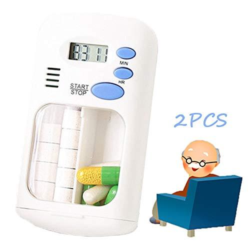 Mini elektronische getimede pillendoos, Smart Travel Waterproof 2 Grids Organizer Dispenser Draagbare wekker Medicijnherinnering Vochtbestendig en luchtdicht, 2 stuks