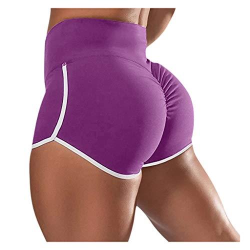 BaZhaHei Damen Frauen Basic Slip Bike Kompression Workout Leggings Yoga Shorts Caprihose Pants Kurze Sporthose Kurz Radlerhose High Waist Sommer Training Fitness Yogahose