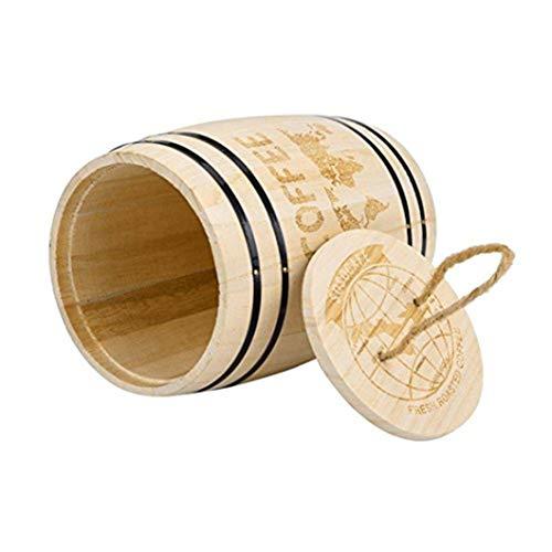 Winkey Boîte à grains de café, grande boîte de rangement hermétique en bois pour grains de café moulus, 17,5 x 11,5 cm (kaki)