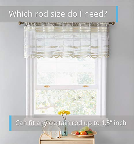 HLC.ME Broadway Striped Semi Sheer Window Curtain Valance for Kitchen, Small Windows and Bathroom (54 x 18 inch Long, Beige)