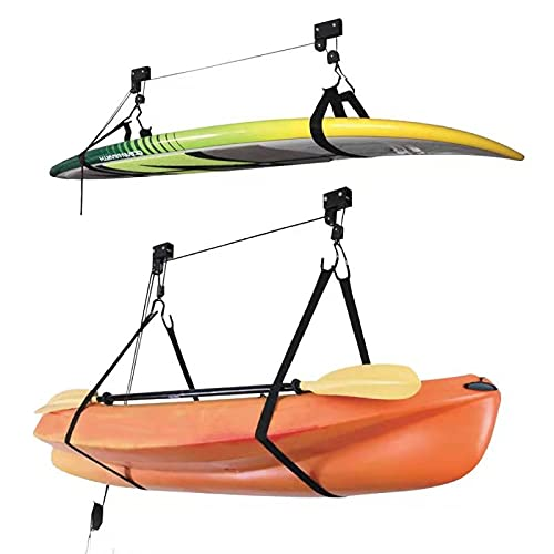 Onefeng Sports Kayak Lift Hoist Bike Ceiling Lift Hoist [2 Pack] Overhead RackGarage Storage Canoe Lift with 100 lb Capacity Even Works as Ladder Lift and Bike
