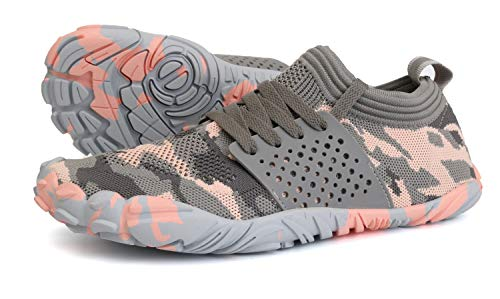 Joomra Women Barefoot Shoes Minimal Wide Cross Trainer for Ladies Runner Size 7.5-8 Athletic Hiking Trekking Toes Sneakers Workout Footwear Grey Pink 38