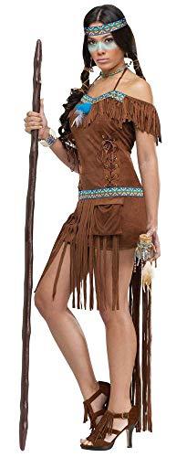 shoperama Sexy Medizinfrau Damen Kostüm in Wildleder Optik Gr. S/M Indianerin Erwachsene Squaw Kleid