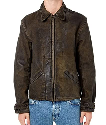 HiFacon Chaqueta de cuero marrón envejecida para hombre de la motocicleta retro de cuero Biker