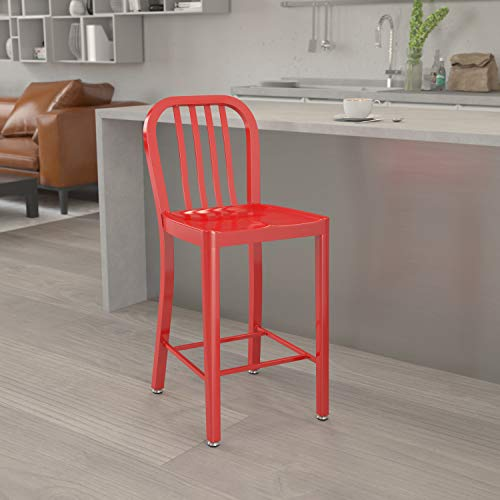 24 Inch Bright Red Metal Slat Back Chair