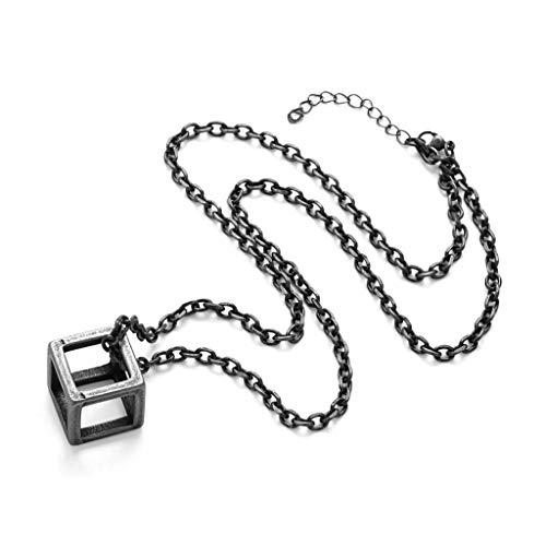 DIANDIAN Collar de Hombres Cubo geométrico Cuadrado Tres Dimensional Moda Simple Retro Amantes Joyería,A