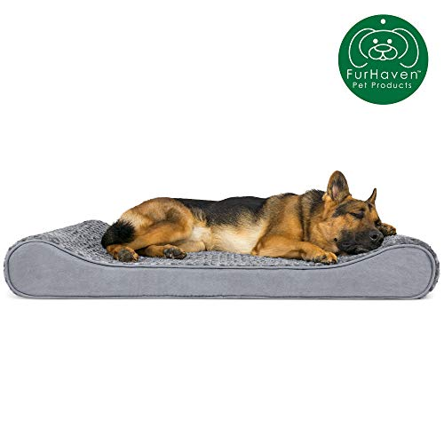 Furhaven Pet Dog Bed | Orthopedic Ultra Plush Faux Fur Ergonomic Luxe Lounger Cradle Mattress Contour Pet Bed w/ Removable Cover for Dogs & Cats, Gray, Jumbo