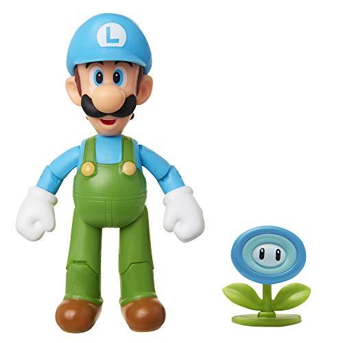 SUPER MARIO Nintendo Collectible Ice Luigi 4' Poseable Articulated Action Figure