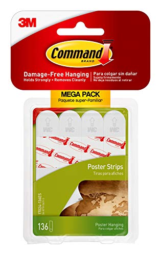 Command Poster Hanging Strips, 136-Strips, Decorate Damage-Free