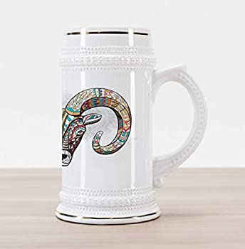 Ambesonne Goat Beer Stein Mug Colorful Ornamented Head of Goat Totem Tattoo Inspired Design Traditional Style Decorative Printed Ceramic Large Beer Mug Stein Multicolor