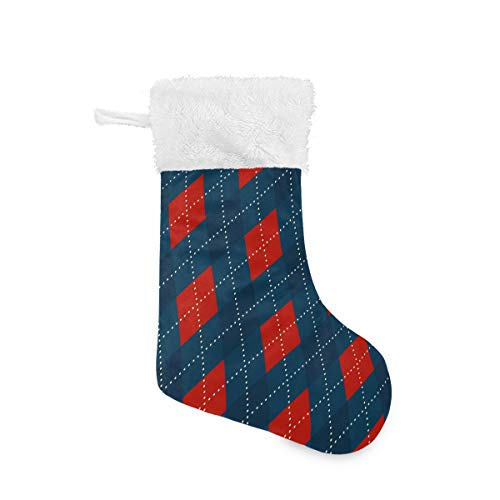 VIKKO Christmas Blue Red Dimond Motif Argyle Christmas Stocking 17.7inch Classic Velvet Plush Santa Stocking Hanging Decorations Bag for Bed Stairs Fireplace Xmas Tree Party Accessory - 2 Pcs