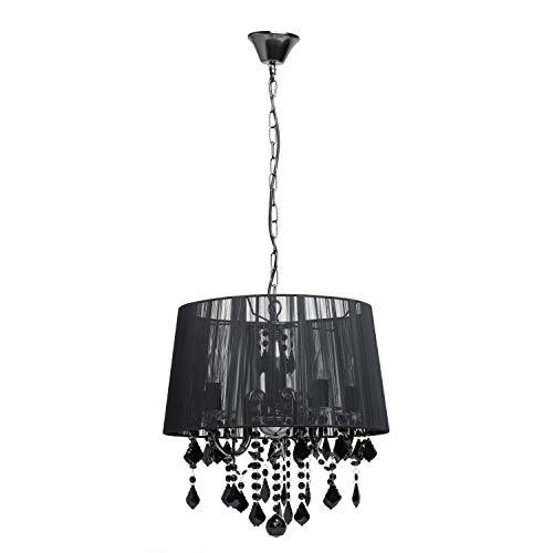 MW-Light 379017905 Pendelleuchte Jugendstil Modern Schwarzes Metall Textilschirm Kristall 5 Flammig E14 x 60W