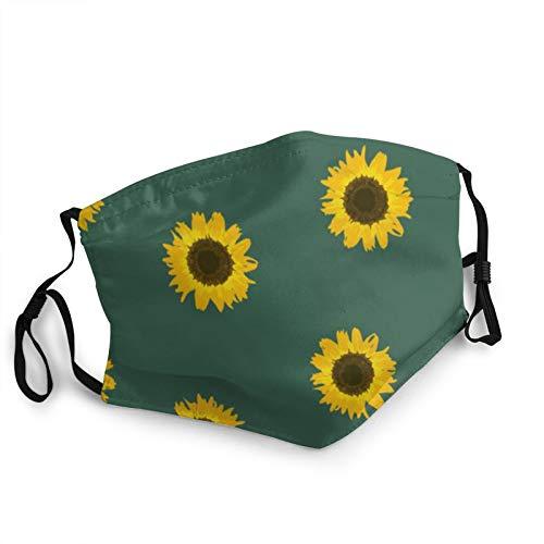 CAP PILLOW HOME Mascarilla de tela lavable con girasol amarillo en verde reutilizable y ajustable contra el polvo de tela protectora