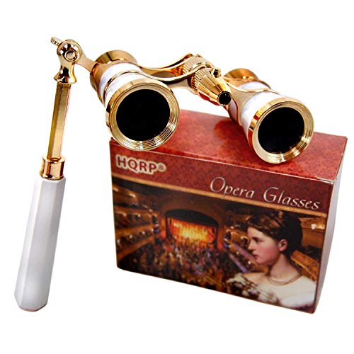 HQRP Opera Glasses s w/Crystal Clear Optic (CCO) 3 x 25 with Built-in Foldable Handle and Red Reading Light (White-Pearl with Gold)