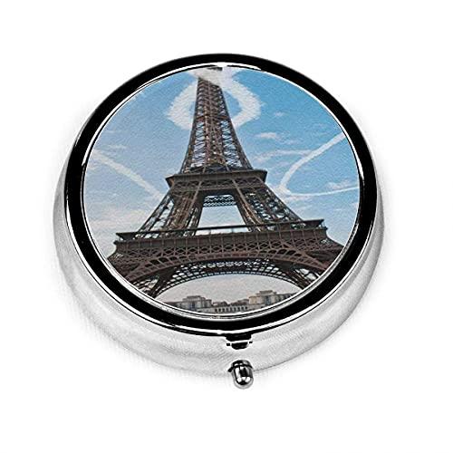 Pastillero redondo con 3 compartimentos Estuche pequeño para pastillas Portátil para monedero en forma de corazón Torre Eiffel romántica