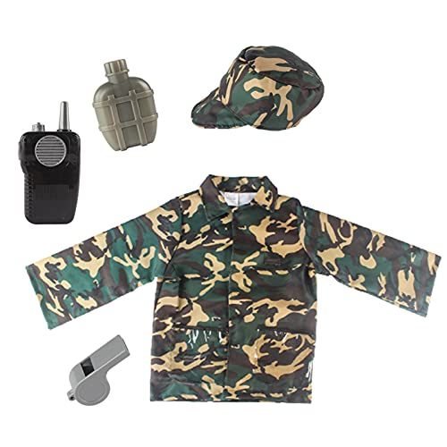 LOVOICE Soldier Cosplay Costume Camouflage Clothing Army Costume Kids World Book Day Camo Military Soldier Camouflage Uniform