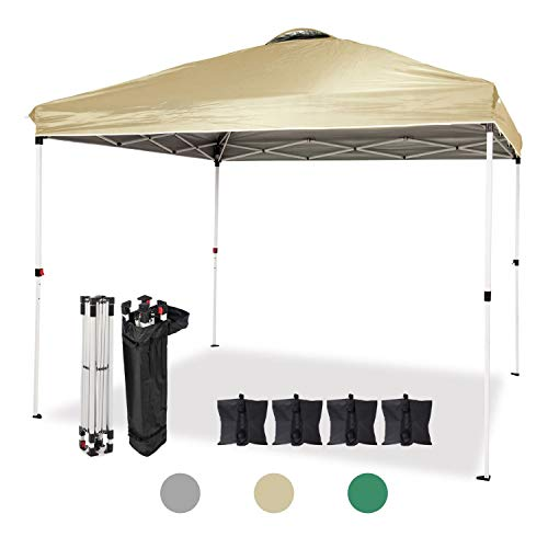 Dawsons Living Waterproof Premium One Touch Garden Gazebo - 3m x 3m Heavy Duty Pop Up Outdoor Garden Shelter - PVC Coated - Travel Bag and 4 Leg Weight Bags (Beige)