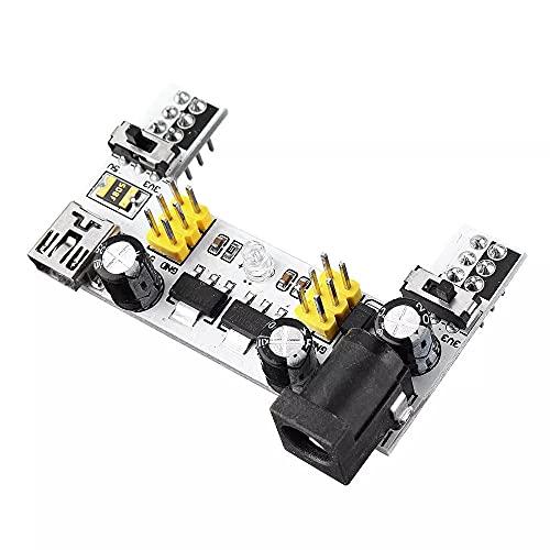 Módulo electrónico MB102 2 canales 3.3V 5V Módulo de fuente de alimentación Módulo de placa blanca Módulo de potencia dedicado MB-102 Tablero de pan sin soldadura 5pcs Equipo electrónico de alta preci