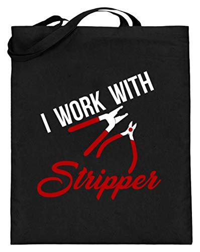 Sconosciuto I Work With Stripper - Ich Arbeite mit Kneizangen! - Design semplice e divertente – Sacchetto di iuta (con manici lunghi), Nero (Nero), 38cm-42cm