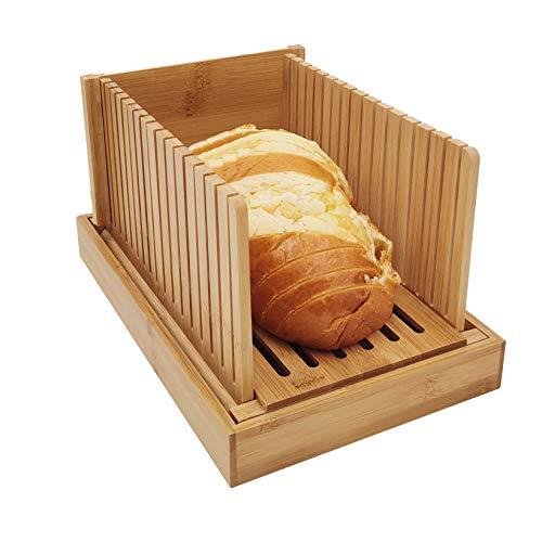 Bambus Holz Faltbare Brotschneidemaschine Kompakte Dicke Einstellbare Brotschneideführung mit Krümelfangschale für selbstgebackenes Brot, Faltbar und kompakt mit Krümelfangschale funktioniert