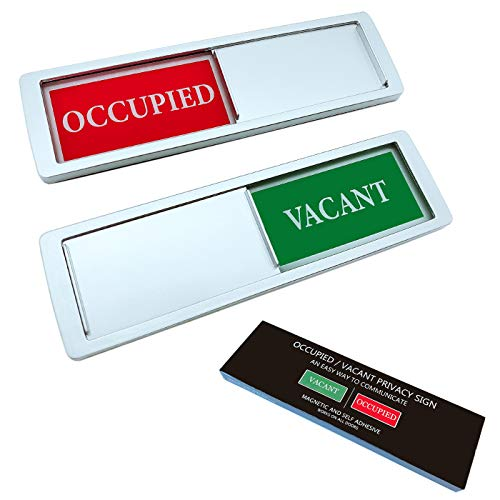 Privacy Sign Sticker, Vacant Occupied Sign for Home Office Restroom Conference Hotel Hospital, Bathroom, Slider Door Signs Indicator Tells Whether Room Do Not Disturb or Welcome, 7'' x 2'' (Silver)