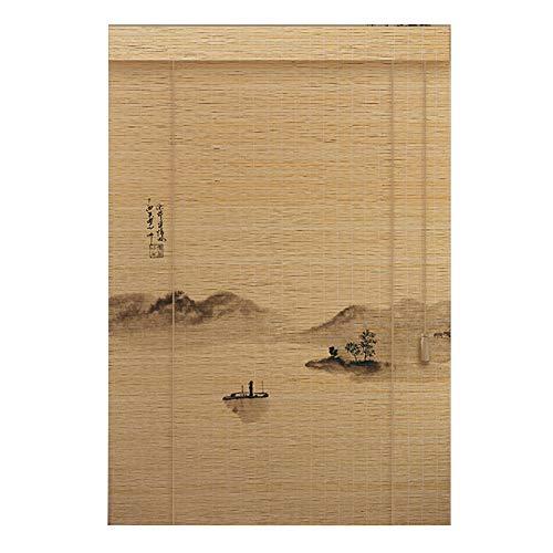 CHAXIA Enrouleurs Store en Bambou Impression Eau De Montagne Rideau Visière Lumière De Couverture Zen Couper, 3 Styles, Multi-Taille, Personnalisable (Couleur : B, Taille : 150X160cm)