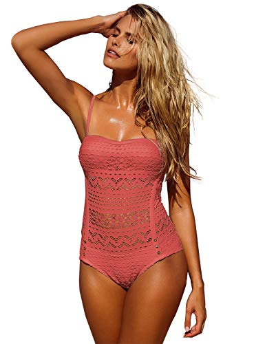 LookbookStore Women's Rococco Red Crochet Lace Halter Straps Swimsuits Swim Bathing Suit US 14