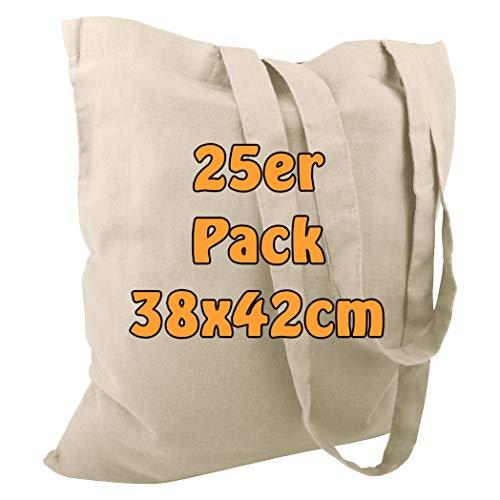 Cottonbagjoe Baumwolltasche Jutebeutel unbedruckt mit Zwei Langen Henkeln 38x42cm (Natur, 25 Stück)