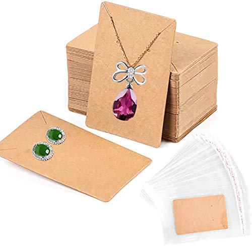 Heatigo Earring Display Card,Earring Card Display Earring Holder Cards,with Self-Seal Bags, Necklace Display Cards,Earring Card Holder Blank Kraft Paper Tags for DIY Jewelry Display (Brown)