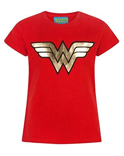 Wonder Woman Foil Logo Camiseta de Manga Corta para niña/niño en Rojo