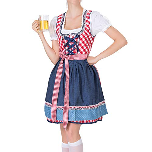 liaobeiotry 3 Teile/Satz Frauen Barmaid Dirndl Kleid Kreuz Verband Square Neck Kurzarm Plaid Bayerischen Oktoberfest Kostüme Halloween Karneval Party