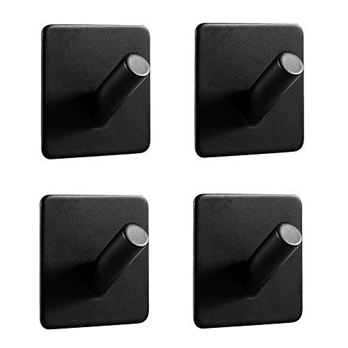 Ganchos de pared LJLink 4 unidades, ganchos adhesivos para toallas sin agujeros, acero inoxidable SUS304, autoadhesivos, para baño y cocina, color negro