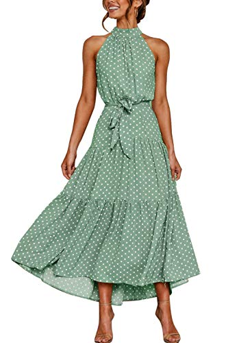 Zilcremo Sommerkleider Damen Böhmisch Lange Kleid Strandkleid Halfter Blumenkleid Polka Punkt Maxikleider mit Gürtel Greendot S