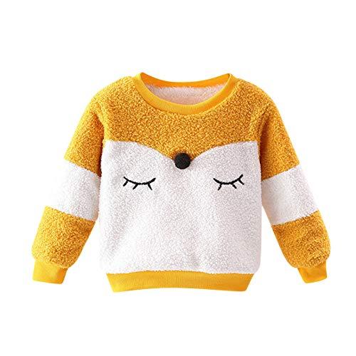 zhen+zhen Sweatshirt Pullover Plüsch Jungen Mädchen Baby Kinder Langarmshirts T-Shirt Kleinkind Herbst Winter Oberbekleidung Cute Fuchs Tops Beiläufige 12 Monat-4 Jahre (Gelb,12-18 Monat