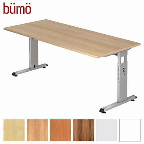 bümö® Stabiler Schreibtisch höhenverstellbar 180 x 80 cm | Bürotisch in Eiche | Büroschreibtisch mit Höheneinstellung | Tisch für Büro in 9 Größen & 7 Dekoren