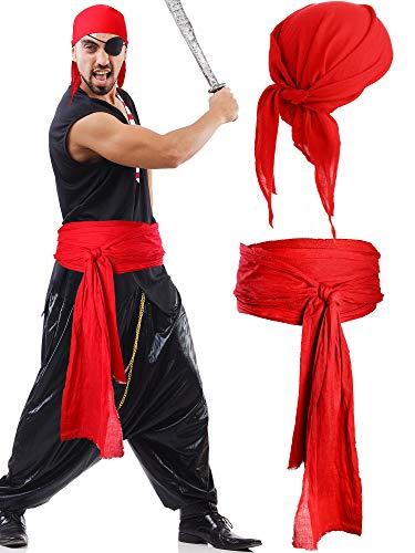 SATINIOR Halloween Piraten Kostüm Mittelalter Renaissance Leinen Pirat Bandana und Gürtel Zubehör Große Schärpe Kostüm (Rot)