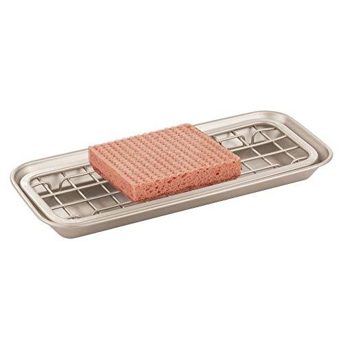mDesign Spülorganizer Küche – Schwammhalter und Seifenschale – 2-teilig – Abtropfgitter mit Tropfschale