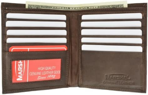 Marshal Essentials Deluxe Genuine Leather Hipster Wallet 2502 (Brown)