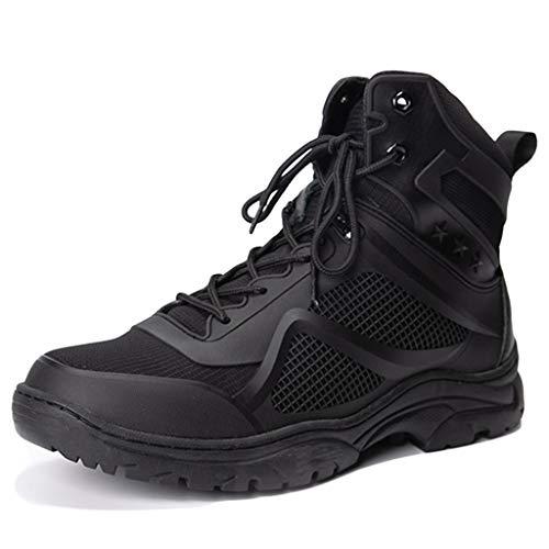 Wygwlg Botas de Combate de Cuero del Desierto de la Patrulla Militar del ejército de los Hombres Botas de Todoterreno Antideslizantes de Seguridad para Cadetes al Aire Libre Negro,Black-43