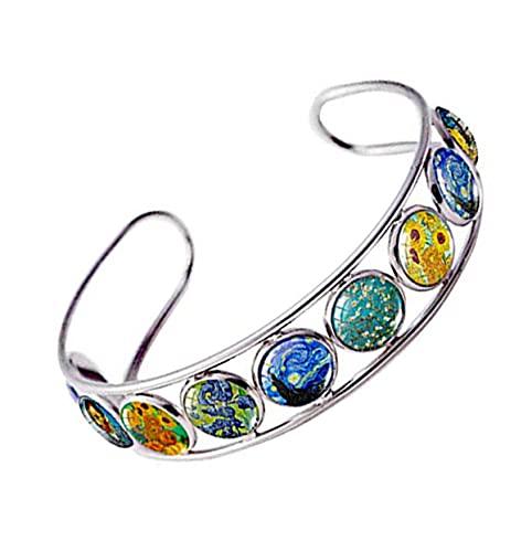 Van Gogh Cuff Bracelet Art Pattern Under Glass Dome Jewelry Handmade