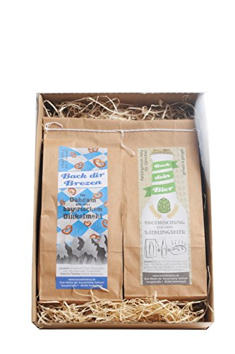 Geschenkbox - Bierbrot- und Brezenmischung, 2er Backset in Geschenkverpackung