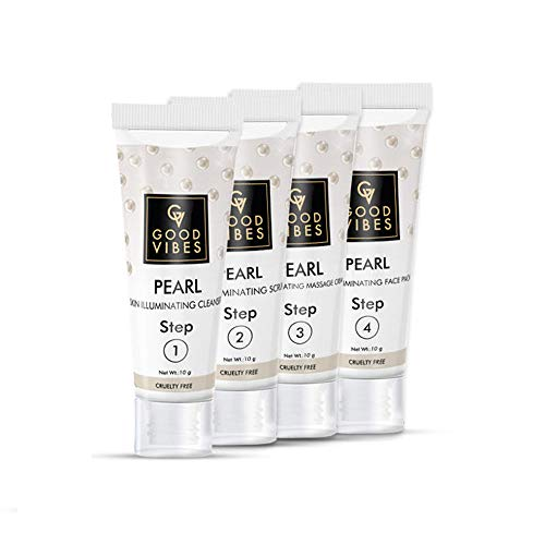 Good Vibes Pearl Skin Illuminating Facial Kit – 4 Step Skin Care Includes Cleanser, Scrub, Cream and Pack – 10 g each – Cruelty Free