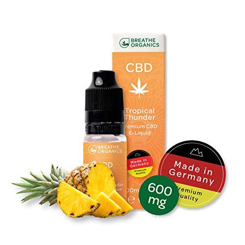 Premium CBD Liquid Tropical Thunder von Breathe Organics® | E Liquid ohne Nikotin mit 600 mg CBD | 100{f7f1333c49d1f9b21ee68d20c494444e5fba6ab56649dd5262c29718a89ae83d} natürliche Terpene | Cannabidiol Liquid