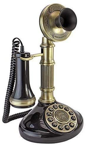 AWAING Telefonos Antiguos Vintage Teléfono Antiguo - Columna Romana 1897 Teléfono Giratorio con candelabro - Teléfono Retro con Cable - Teléfonos Decorativos Vintage