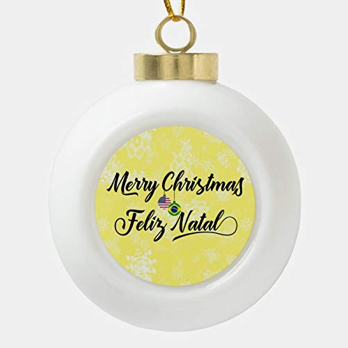 Dom576son Christmas Ball Ornaments, Bilingual Brazilian American Holiday Ornament, Shatterproof Christmas Decorations Tree Balls for Holiday Wedding Party Decoration